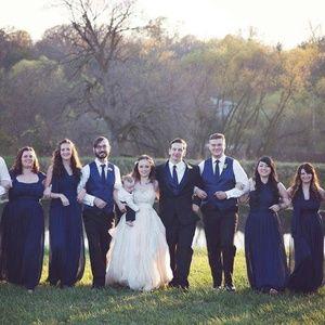 Navy David's Bridal Convertable Bridesmaid Dress